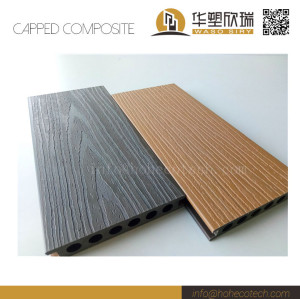 External waterproof co-extrusion wood plastic composite deck floor with 2 colors