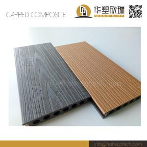 External waterproof co-extrusion wood plastic composite deck floor with 2 colors