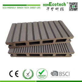Wood plastic composite hollow deck flooring for platform