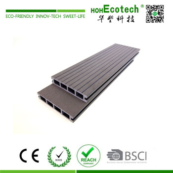 Grooved surface anti slip grey plastic wood composite deck