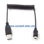 Mini USB coiled cable