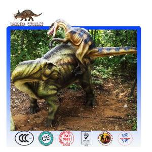 Prehistoric Dinosaur Battle Scene