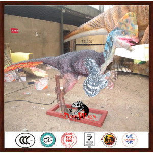 animatronic dinosaur model with feathers