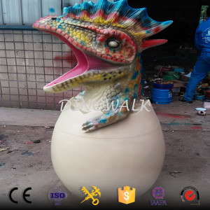 Amusement park fiberglass dinosaur trash can