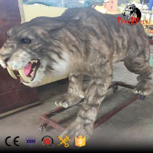 life size animatronic Prehistoric Animal smilodon statue