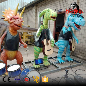 Animatronic dinosaur band for dino park