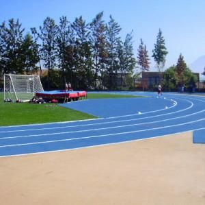 Blue Running Track Construction