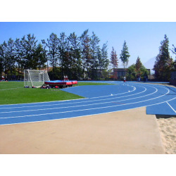 Blue Running Track Construction
