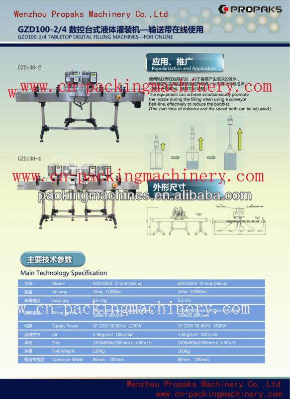 Gzd100-4 del engranaje de la bomba digital de la máquina de llenado