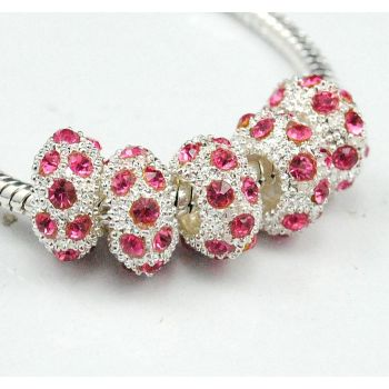 Silver Plated Pink Rhinestone Charm SPCER Beads P17