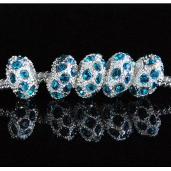Blue Rhinestone Charm SPCER Beads P16