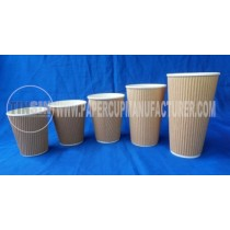kraft ripple hot paper cups