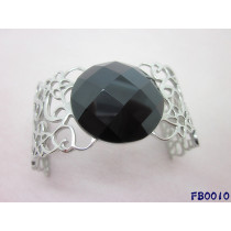 Stainless Steel Hollow Bangle With Big CZ Stone