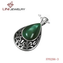 316L Stainless Steel  Cone Shaped Pendant w/  Pure Green  Enemal
