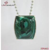 316L Stainless Steel Square Stone Pendant/Green Turquoise