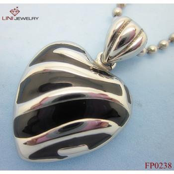 Lini design LOVE Stainless Steel Pendant,Black Enemal Steel Strip Jewelry Pendant