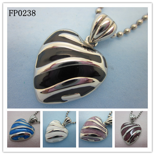 steel love enemal pendant