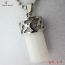 white   Cylinder Stone Pendant