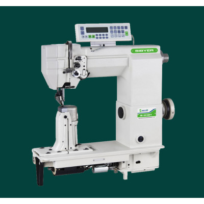 SINGLE-NEEDLE POST BED WITH WHEEL FEED NEEDLE FEED AND DRIVER ROLLER PRESSER LOCKSTITCH SEWING MACHI
