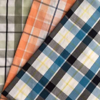 Cotton yarn-dyed plain check fabric