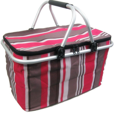 Colorful stripe two handle foldable shopping picnic cooler basket