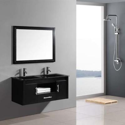 Morden bathroom double basin MDF cabinet