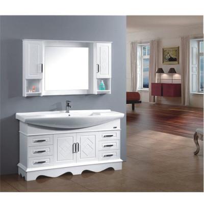 Floor standing oak wood bathroom cabinet vanity