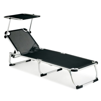 Black foldable sun lounger beach chaise longue