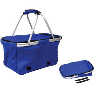 Blue foldable aluminum double handle food shopping bag