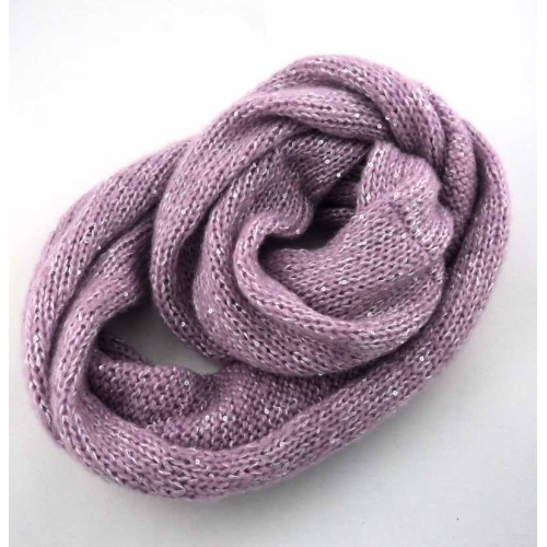 BLING BLING KNITTED ENDLESS ACRYLIC SCARF