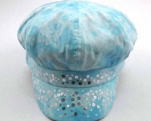 TIE DYED COTTON CAP WITH SEQUINS