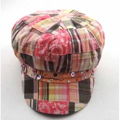 PLAID COTTON CAP WITH SEQUINS