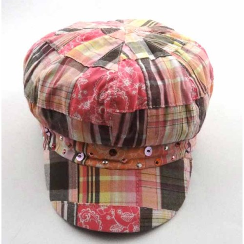 PLAID COTTON CAP WITH SEQUINS
