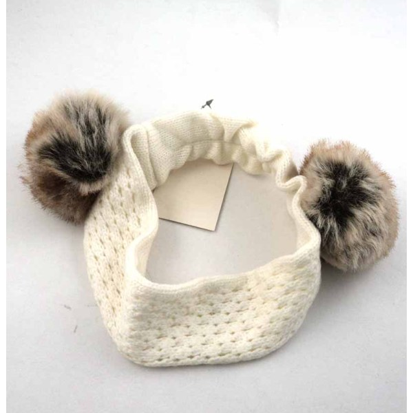 KNITTING HEAD BAND WITH POM-POM