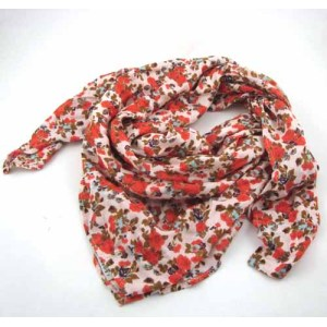 FLORAL PRINTED SQUARE VISCOSE SCARF