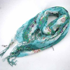 FLORAL PRINTED COTTON SCARF