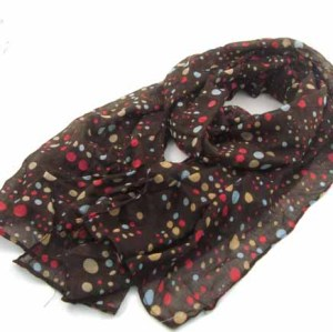 COLORFUL DOTS PRINTED COTTON SCARF