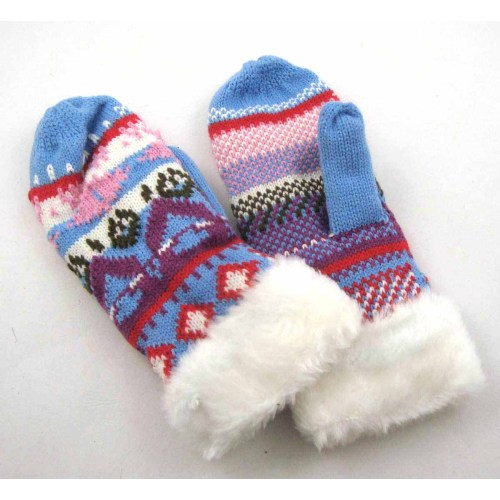 KNITTING GLOVES WITH FAKE FUR