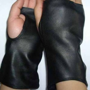 COOL FINGERLESS BLACK LEATHER GLOVES