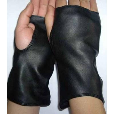 FRÍO guantes sin dedos de cuero negro