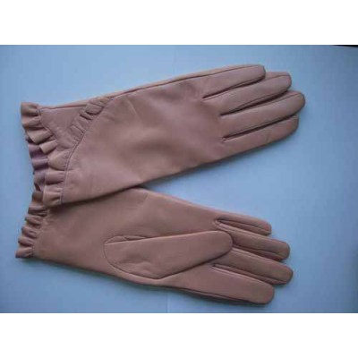 Elegantes guantes de cuero rosa