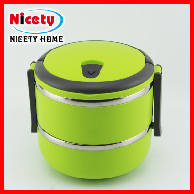 stainless steel kids' lunch box set with plastic lid