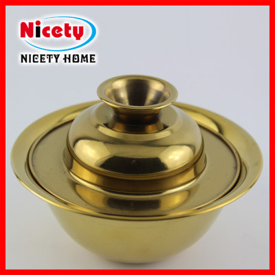 stainless steel golden bowl with lid