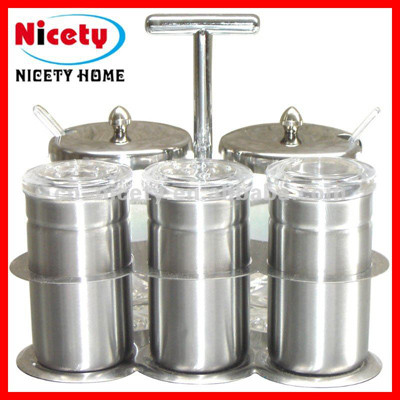 stainless steel & glass spice canister with lid