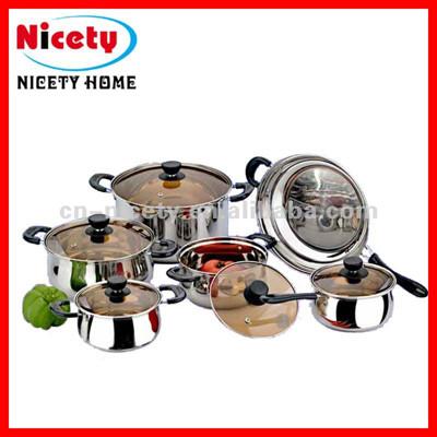 stainless steel utensil set of 12pcs cookware set
