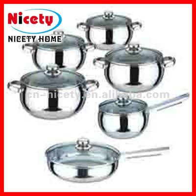 12pcs stainless steel cooking pot set