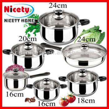 12pcs simple bottom glass lid cookware