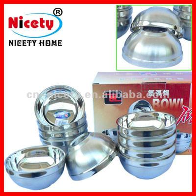 double wall round stainless steel matt bowl