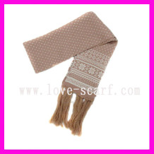 Long Acrylic Knitted Scarf with Tassels