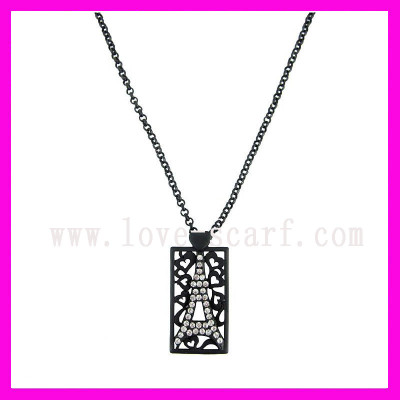 Gunmetal Eiffel Pendant Necklace